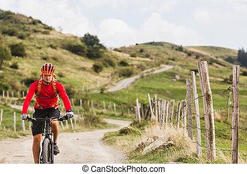 ember, lovaglás, hegy bicikli, képben látható, ország út