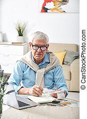 ember, modern, számítás, idősebb ember, költségek