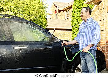ember, mosás, autó, képben látható, kocsifelhajtó