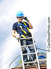 ember, munka on, tető