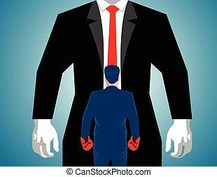 ember, nagy, ökölvívás, ellen, üzletember