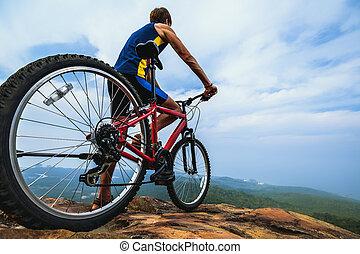 ember, noha, bicikli