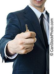 ember, noha, kulcs kezezés, closeup.