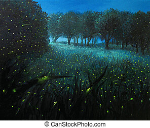 Ember of Life - An oil painting on canvas of a night scene...