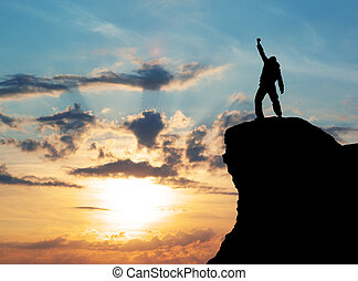 ember, on tető of, hegy