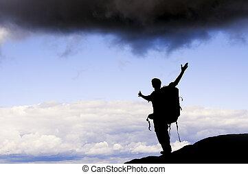 ember, on tető of, mountain.