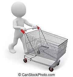 ember, rámenős, egy, bevásárlókocsi