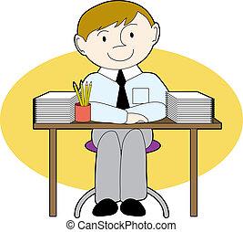 ember, rendes, íróasztal