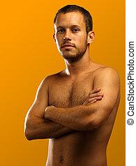 ember, shirtless