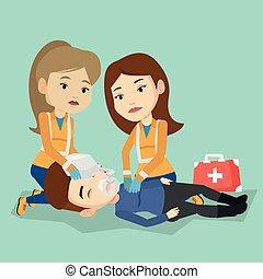 ember, stretcher., szállítás, szükséghelyzet, orvosok