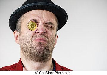 ember, szem, bitcoin, birtoklás