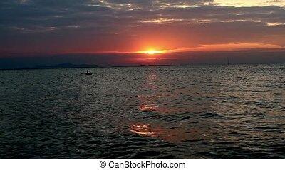 ember, talál, fény, napnyugta, tenger gyümölcsei, eltart,...