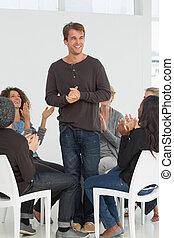 ember, tapsol, boldog, csoport, rétegfelhő, rehab