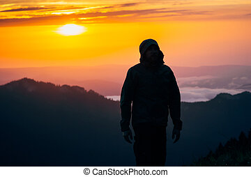 ember, utazó, árnykép, gyalogló