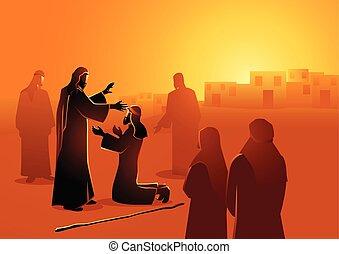 ember, világtalan, kigyógyít, jézus