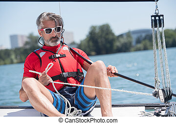 ember, vitorláshajó, képben látható, tó