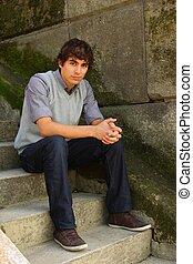 ember, young felnőtt, ülés