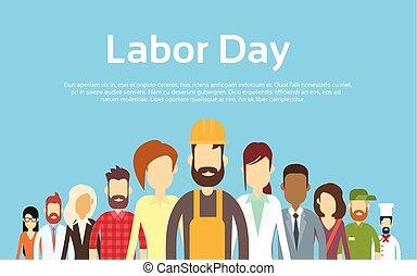 emberek, állhatatos, csoport, különböző, nemzetközi, foglalkozás, nap, munka
