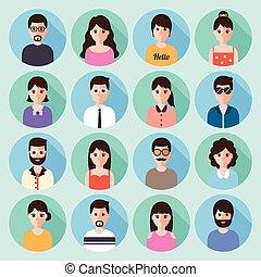emberek, állhatatos, ikon, tervezés, lakás