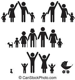emberek, árnykép, család, icon.