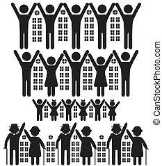 emberek, épületek