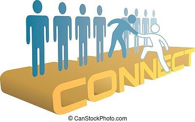 emberek, összekapcsol, csatlakozik, feláll, csoport, kéz, segítség