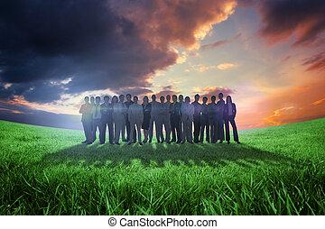 emberek, összetett, álló, kép, ügy, feláll