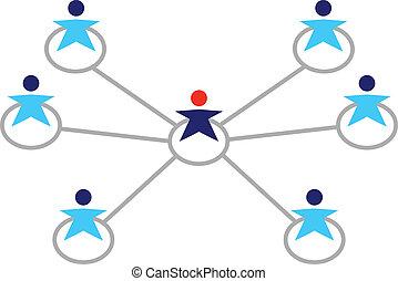 emberek ügy, hálózat, elszigetelt, globális, fehér