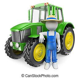 emberek., 3, fehér, traktor, farmer