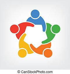 emberek, 5, csoport, jel, befog