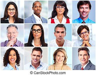 emberek arc, collage.