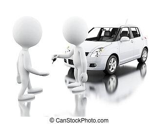 emberek, autó, új, fehér, vásárlás, 3