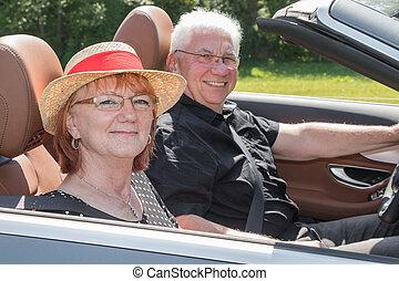 emberek, autó, két, öregedő, átváltható, boldog