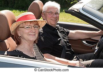 emberek, autó, két, öregedő, fényűzés, átváltható, boldog