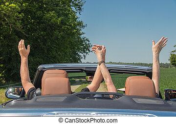 emberek, autó, két, öregedő, fényűzés, átváltható