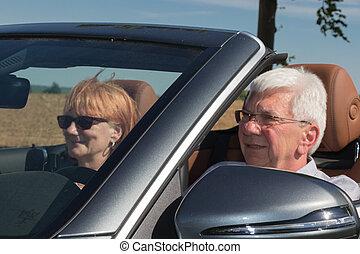 emberek, autó, két, öregedő, sport, fényűzés