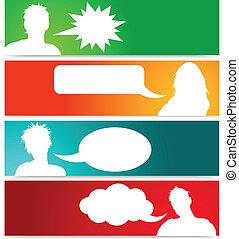 emberek, avatars, noha, beszéd, panama
