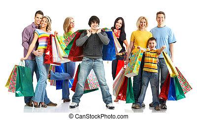 emberek., bevásárlás, boldog