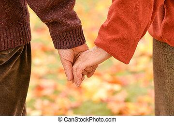 emberek, birtok, természet, ősz, kézbesít, két