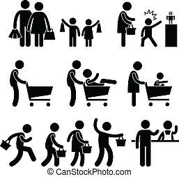 emberek, család bevásárlás, anyagbeszerző, kiárusítás