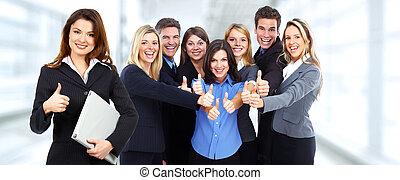 emberek., csoport, ügy, boldog