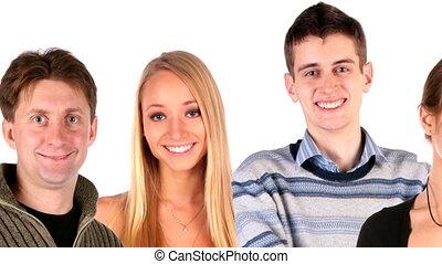 emberek, csoport, arc