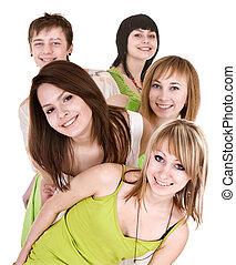 emberek, csoport, fiatal, boldog
