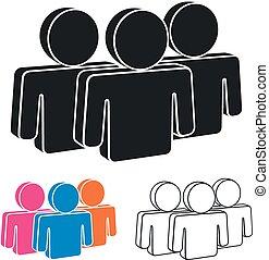 emberek, csoport, ikon, vektor