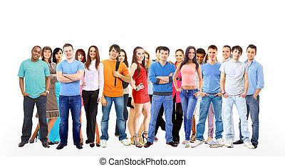 emberek, csoport, jottányi