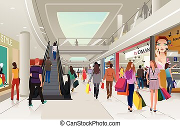 emberek, fedett sétány, bevásárlás