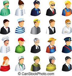 emberek, foglalkozás, ikonok, vektor, állhatatos