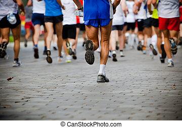 emberek, futás, alatt, város, maratoni futás