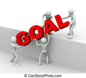 emberek, gól, -, céltábla, 3, befejezés, fogalom