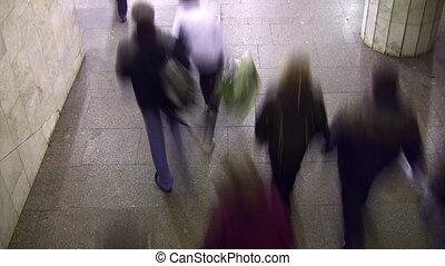 emberek., gyalogló, lapse., idő